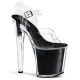 Czarne Glitter 20 cm XTREME-808G High Heels Platformie Buty
