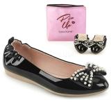 Czarne IVY-09 baleriny płaskie buty z perły