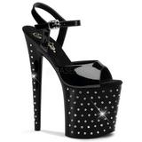 Czarne Kamieniami 20 cm STARDUST-809 High Heels Platformie Buty