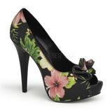 Czarne Kwiatowy 13 cm LOLITA-11 buty damskie na wysokim obcasie