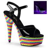 Czarne Lak 15 cm DELIGHT-609RBS Sandały na wysokim obcasie Neon