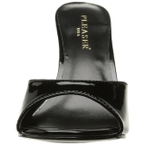 Czarne Lakierowane 10 cm CLASSIQUE-01 duże rozmiary klapki buty