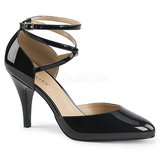 Czarne Lakierowane 10 cm DREAM-408 duże rozmiary szpilki buty