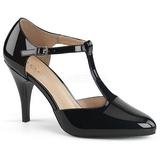 Czarne Lakierowane 10 cm DREAM-425 duże rozmiary szpilki buty