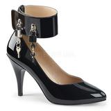 Czarne Lakierowane 10 cm DREAM-432 duże rozmiary szpilki buty