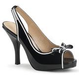 Czarne Lakierowane 11,5 cm PINUP-10 duże rozmiary sandały damskie