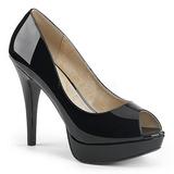 Czarne Lakierowane 13,5 cm CHLOE-01 duże rozmiary szpilki buty