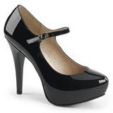 Czarne Lakierowane 13,5 cm CHLOE-02 duże rozmiary szpilki buty