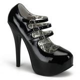 Czarne Lakierowane 14,5 cm Burlesque TEEZE-05 buty damskie na wysokim obcasie