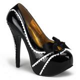 Czarne Lakierowane 14,5 cm Burlesque TEEZE-14 buty damskie na wysokim obcasie