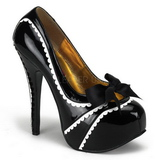 Czarne Lakierowane 14,5 cm TEEZE-14 buty damskie na wysokim obcasie