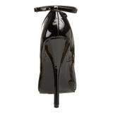 Czarne Lakierowane 15,5 cm DOMINA-431 Buty na wysokim obcasie szpilki