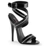 Czarne Lakierowane 15 cm DOMINA-119 Wysokie sandały damskie