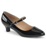 Czarne Lakierowane 5 cm FAB-425 duże rozmiary szpilki buty