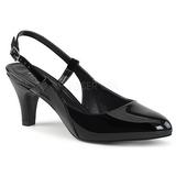 Czarne Lakierowane 7,5 cm DIVINE-418 duże rozmiary szpilki buty
