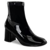 Czarne Lakierowane 7,5 cm GOGO-150 botki na grubym obcasie stretch