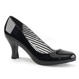 Czarne Lakierowane 7,5 cm JENNA-01 duże rozmiary szpilki buty