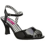 Czarne Lakierowane 7,5 cm JENNA-09 duże rozmiary sandały damskie