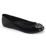 Czarne Lakierowane STAR-24 buty baleriny damskie niski obcas