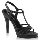 Czarne Matowy 12 cm FLAIR-420 Sandały damskie na obcasie