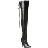 Czarne Matowy 13 cm SEDUCE-3063 Kozaki za kolano na obcasie