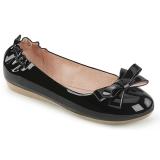 Czarne OLIVE-03 baleriny płaskie buty z muszka