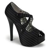 Czarne Prążki 14,5 cm TEEZE-23 buty damskie na wysokim obcasie