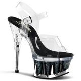 Czarne Przeźroczysty 16,5 cm SPIKY-608MG Platformie buty na szpilkach