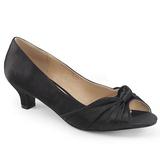 Czarne Satyna 5 cm FAB-422 duże rozmiary szpilki buty