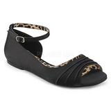 Czarne Satyna ANNA-03 duże rozmiary baleriny buty