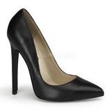 Czarne Skóra 13 cm SEXY-20 Buty na wysokim obcasie szpilki