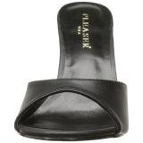 Czarne Skóra Ekologiczna 10 cm CLASSIQUE-01 duże rozmiary klapki buty