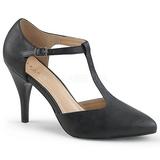 Czarne Skóra Ekologiczna 10 cm DREAM-425 duże rozmiary szpilki buty