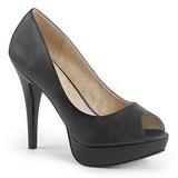 Czarne Skóra Ekologiczna 13,5 cm CHLOE-01 duże rozmiary szpilki buty