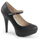 Czarne Skóra Ekologiczna 13,5 cm CHLOE-02 duże rozmiary szpilki buty