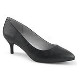 Czarne Skóra Ekologiczna 6,5 cm KITTEN-01 duże rozmiary szpilki buty