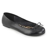 Czarne Skóra Ekologiczna ANNA-01 duże rozmiary baleriny buty