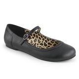 Czarne Skóra Ekologiczna ANNA-02 duże rozmiary baleriny buty