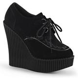 Czarne Skóra Ekologiczna CREEPER-302 platformy creepersy buty kliny