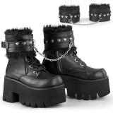 Czarne Vegan 9 cm ASHES-57 Gotyckie Platformie botki na grubym obcasie