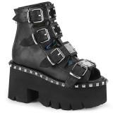 Czarne Vegan 9 cm ASHES-70 Gotyckie Platformie botki na grubym obcasie