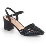 Czarne blasku 7 cm Fabulicious FAYE-06 sandały na obcasie
