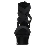 Czarne elastyczna opaska 15 cm DELIGHT-669 obuwie pleaser dla damskie