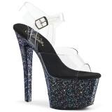 Czarne glitter 18 cm Pleaser SKY-308LG buty do tańca pole dance