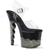 Czarne kryształ kamieńie 18 cm SCALLOP-708-2RS buty do tańca pole dance