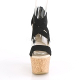Czarne opaska 16,5 cm BEAU-669 sandały na koturnie z korka