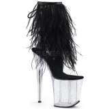 Czarne pióra 20 cm FLAMINGO-1017MFF buty do tańca pole dance