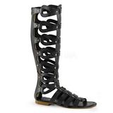 Czarny ATHENA-200 sandały gladiatorki do kolan damskie