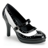 Czarny Biały 10,5 cm CONTESSA-06 buty damskie na wysokim obcasie