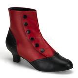 Czarny Czerwone Botki Damskie 5 cm FLORA-1023